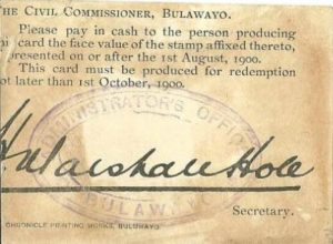 "STAMP CURRENCY CARD (From the talk by Bob Armstrong "" Hugh Marshall Hole and his Matabeleland Stamp Currency Cards of 1900"")"