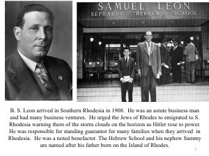 B.S. Leon (Slide from The History of Jewish People of Zimbabwe talk by Benny Leon)